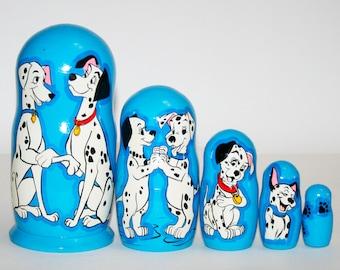 Nesting doll 101 dalmatians for kids signed matryoshka russian dolls