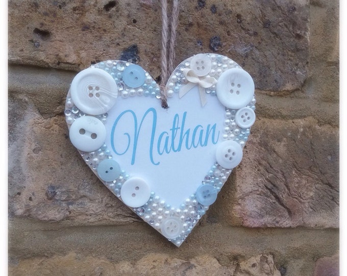Personalised hanging heart plaque / sign | any message | Embellished wooden heart | Children's signs |New baby gift's | Any colour| plaque