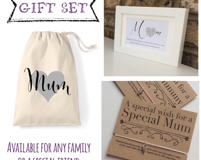 Personalised bag gift set. First my Mum forever my friend Quote framed print, Sparkle, Mother's Day, custom made for anyone, Wish bracelet
