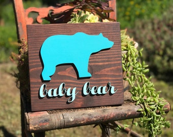Baby bear/wood decor/sign/Bear/Nursery/Nursery Decor/Lasercut