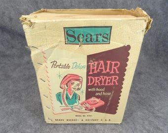 Sears Portable Deluxe Hair Dryer Model 8714 Circa 1960's