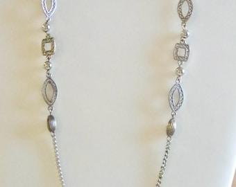 Vintage Silver Tone Chain Necklace - Square Oblong