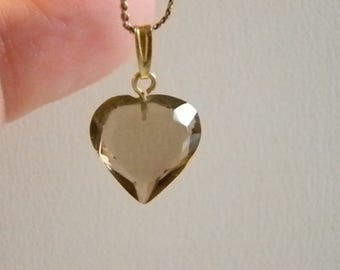 Smokey Gray Heart Crystal Pendant With Chain Necklace