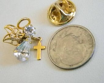 Pretty Gold Tone Guardian Angel Clear Crystals W/Dangling Cross Tack Pin