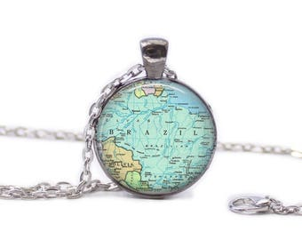 Map of Brazil Necklace Map Jewelry Travel Necklace Brazil Jewelry Brazil Keychain Map of Brazil
