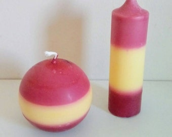 Handmade candle color Spain, red, yellow, round, ball, decoration, made in France, natural colza wax, Spanish flag