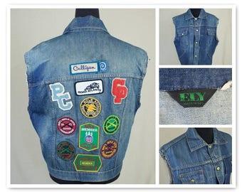 Vintage 80s ELY NRA Patched Sleeveless Cutoff Denim Biker Vest
