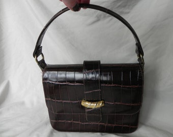 1960s Brown Leather Lizard Reptile Embossed Handbag Purse with Two Compartments by Gamins