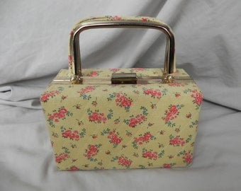 1960's or 1970's Yellow Floral Quilted Fabric Box Purse with Double Handles