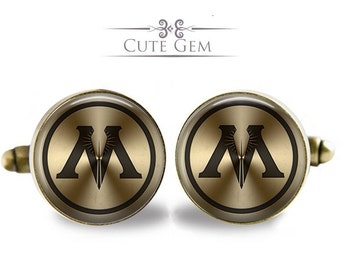SUPER SALE - The Ministry of Magic ( Harry Potter ) - Antique Bronze Glass Cufflinks
