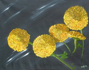 yellow flowers painted oil on canvas measures 60 x 80 cm.no frame.