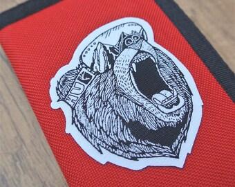 Bear Goggles Ripper Wallet, Travel Wallet, Zip Wallet, Patch Wallet, Red Wallet, Snowboard Wallet, Bear Patch, Outdoors Patch, Travel Patch