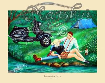 Lambretta scooter art print, Lambretta painting, skinhead art print, vespa scooter art, Northern soul art, skinhead couple, Marshys art