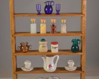 Dollhouse large cupboard,display furniture 1/12 ,miniature, wooden,,with 20+ items