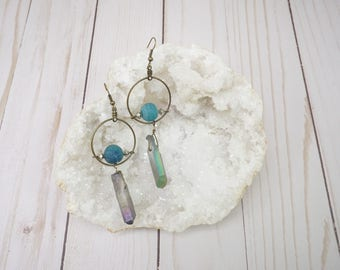 Brass Ring Mystic Quartz Earrings