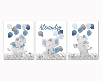 Blue elephant nursery art blue bird nursery wall art for baby boy room decor play room decor nursery artwork kids room decor children art