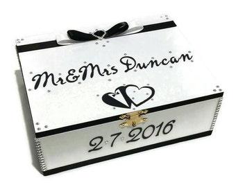 Personalised Wedding Box, Keepsake Box, Trinket Box, Treasure Box, Memory Box, Jewellery Box, Wooden Box - Black & White