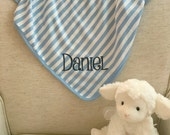 Monogrammed Blue and White Stripe Baby Blanket