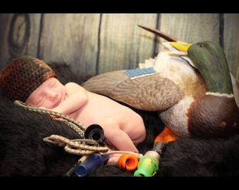 Crochet camo hat, hunting hat, camouflage, kids camouflage hat, newborn, newborn hunting hat, camo, newborn photo prop, camouflage, crochet