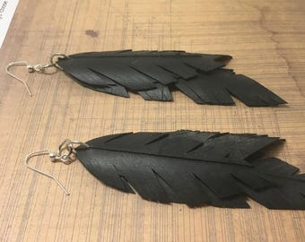 Triple Feather Upcycled Bike Tube Earrings