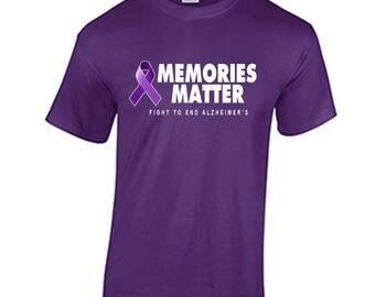 Alzheimer's Awareness Shirt Memories Matter Fight To End Alzheimer's T-Shirt #EndALS Alzheimer's and Brain Awareness Tee