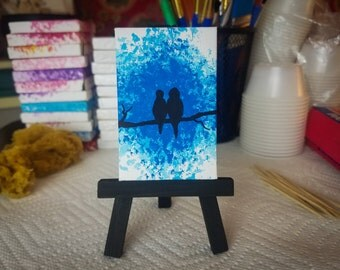 Love Birds 2x3 stretched canvas art tiny painting Blue Valentines