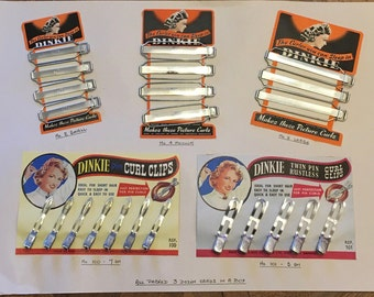 1930's / 1940's Vintage Deadstock DINKIE Sleep Curlers & Pin Curl Clips Salesman's Sample Card