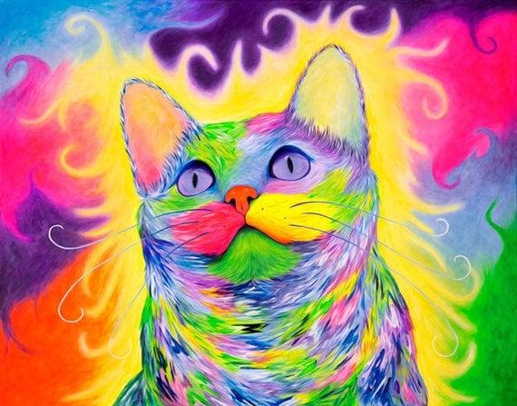 Rainbow Cat Wall Art. Cat Artwork. Colorful Kitty Art Print. Rainbow Cats Art Prints. Cat Portrait Decor. Cat Art Print.