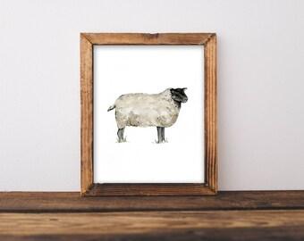 "Farmhouse Wall Art, Sheep Painting, Sheep Art, Shabby Chic Wall Art, Farm Animals, Farm Animal Painting, Animal Room Decor, 8x10"""