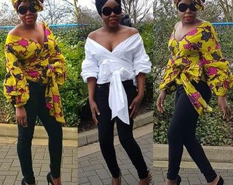 Towani Creations Ankara African Fabric Wrap Top With Exaggerated Ruffle Puff Sleeves  Size S,M,L,XL/8-10,10-12,14-16,18-20UK