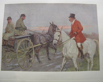 Original Edwardian Equestrian Hunting Print By GD Armour Published 1928