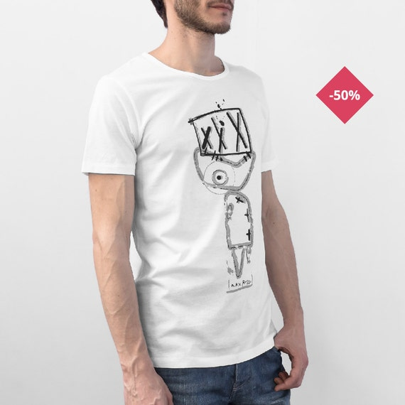 Man Graphic tee Printed t shirt White Organic Cotton - Fish...