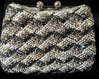 New Black & Smoke Gray Austrian Crystal Hardshell Clutch Bag