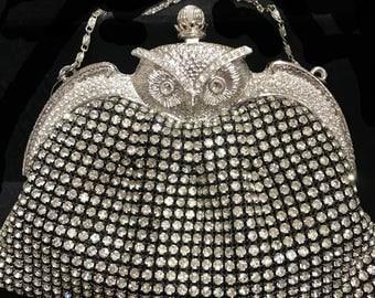 New Rhinestone Silver Soft Body With Silver Owl Closure Evening Shoulder bag