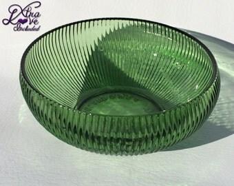 Vintage E.O. Brody Co Ribbed Green Glass Bowl