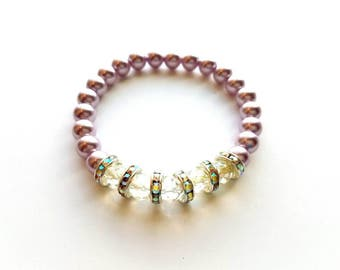 Crystal and Lilac Glass Pearl Beads with Rhinestones Stretch Bracelet, Wedding, Bride