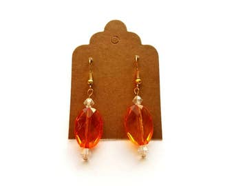 Gold Wires with Acrylic Orange and Crystal Bead Earrings Handmade by Cialeigh