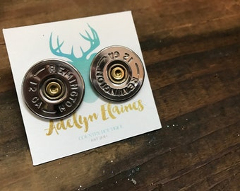 Remington 12 Gauge Shotgun Shell Earring Studs // Bullet Jewlery // Bullet Earrings
