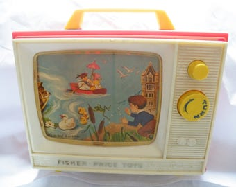 Vintage Fisher Price Toy, Carry With You TV, Musical Picture Box, Plays Two Tunes, Mid Century Toy