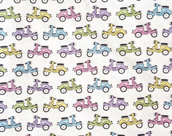 Scooter cotton fabric, vespa, colorful, vintage, 100% cotton fabric by yard, fat quarter, half yard, yard