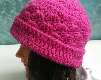 Pink wool crochet hat