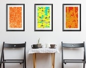 Set of 3 prints, print set of three, affordable printable art set, wall art trio, trio download, colorful cafe wall art, orange blue red
