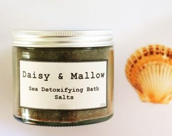 Sea Detoxifying Bath Salts -Dead Sea and Epsom Salts- atlantic kelp - irish sea moss - fennel - juniper - lemon - grapefruit - 250g jar