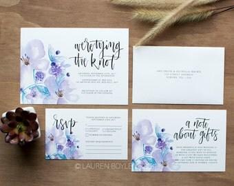 Watercolour Floral Script Wedding Invitations, Purple Watercolour Wedding Invitations, Floral Wedding Invitations, Printed Invitation