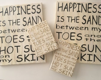 SALE - Happiness Is - Beach Canvas - Inventory Sale
