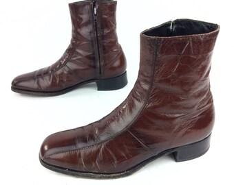Florsheim Imperial Dress Boots Vintage Caramel Brown Zipper Side Men's Sz. US 10 D