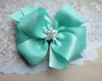 Aqua Mint green hair bow Beach wedding rhinestone Satin Organza 5 inch  clip toddler girl flower girl pageant wedding boutique Cici's