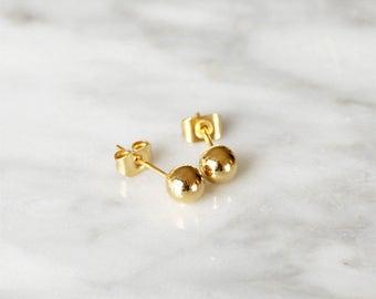 E1038 - New Gold / Rose Gold Sphere Circle Ball Studs Earrings