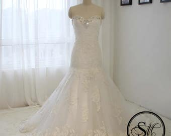 Mermaid Trumpet Wedding Bridal Dress with Sweetheart Neckline Crystals Embroidery Glitter Lace Up Court Train Lace