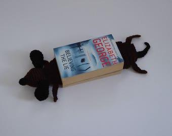 Dog Bookmark, Dachshund Bookmark, Splattered Dachshund Bookmark, Amigurumi Bookmark, Dog Page Marker, Funny Dog Bookmark, Teacher's Gift